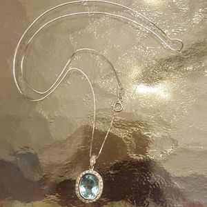 Jewelry - Aquamarine & Diamond Silver Necklace LAST CHANCE